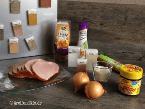 Die Zutaten für Kasseler in Honig-Senf-Soße