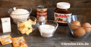 Die Zutaten für einen Nutella-Kokos-Kuchen
