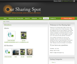Members can browse other members in the Our Sharing Spot group
