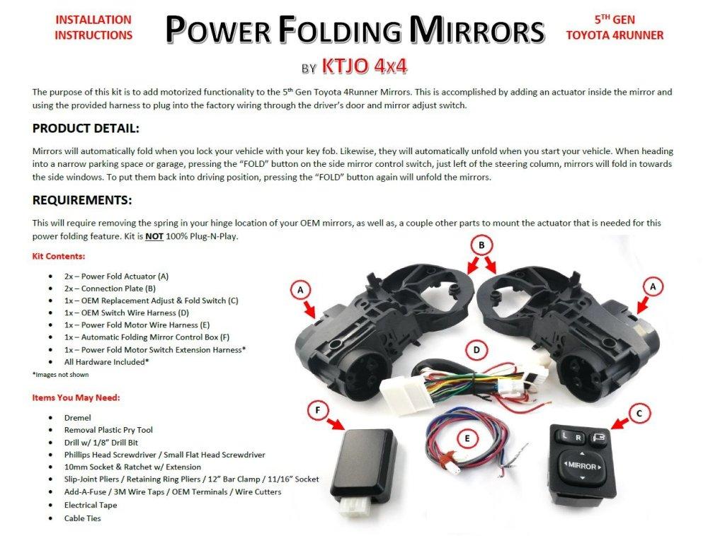 medium resolution of  5th gen folding mirrors toyota 4runner forum 4runners com wiring harness for