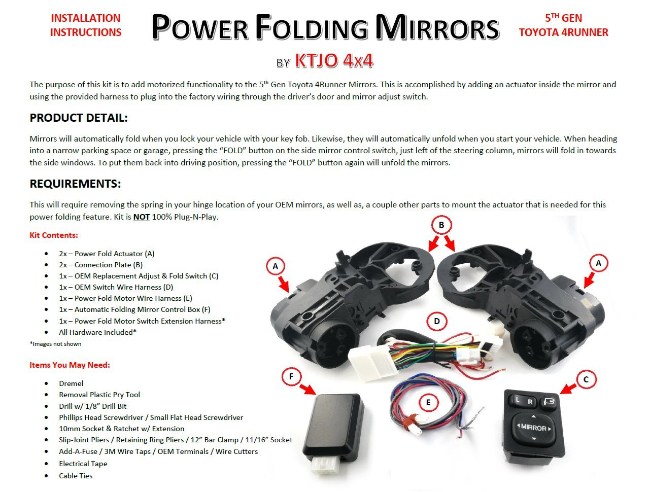 hight resolution of  5th gen folding mirrors toyota 4runner forum 4runners com wiring harness for