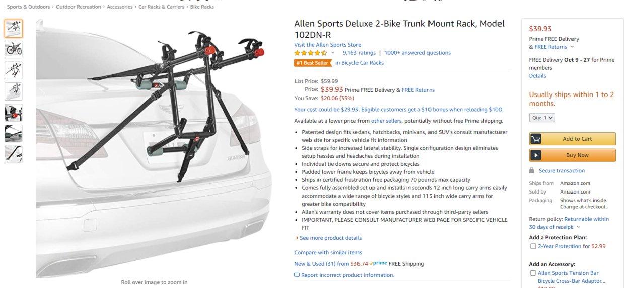 trunk mount bike racks rather than
