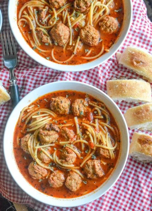 Slow Cooker Spaghetti & Meatballs Soup