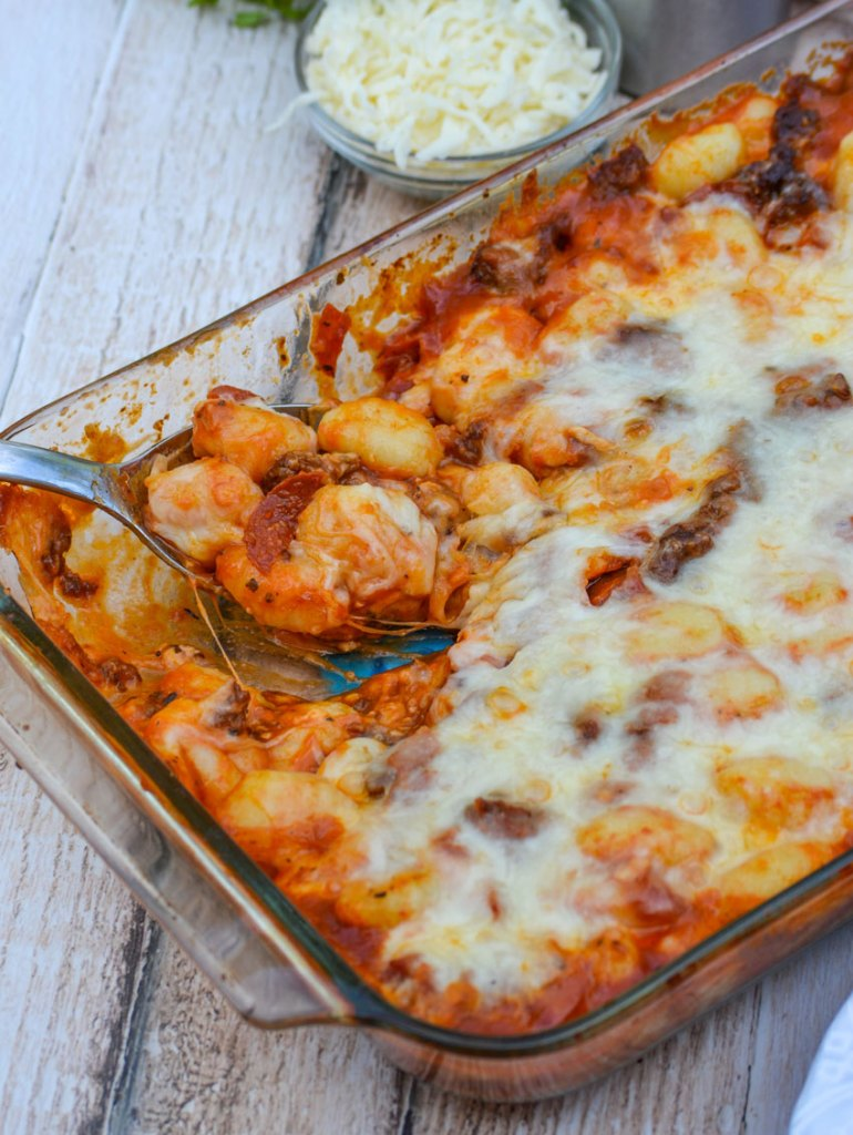 LOADED PEPPERONI PIZZA BAKED GNOCCHI
