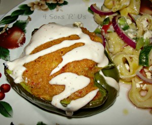 Chicken & Cornbread Stuffed Peppers with a Spicy Ranch Drizzle