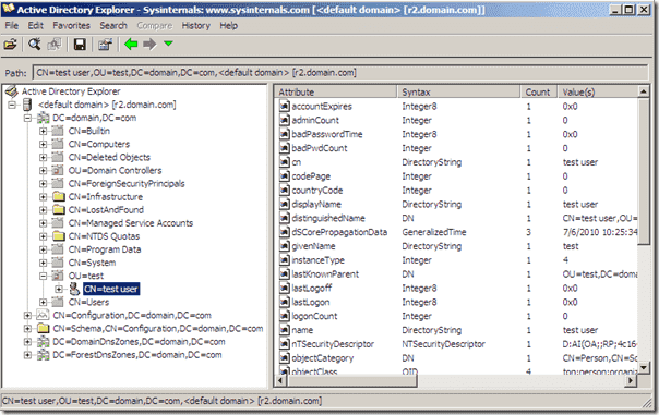 Achtive Directory Viewer Active Directory Explorer