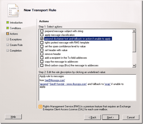 Exchange email signatures - New transport rule - Append disclaimer text