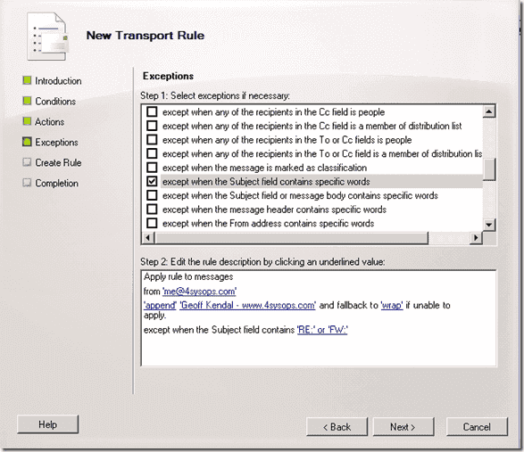 Exchange email signatures - New transport rule - Except replies