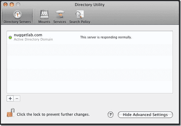 Mac OS X Active Directory Join - Directory Servers
