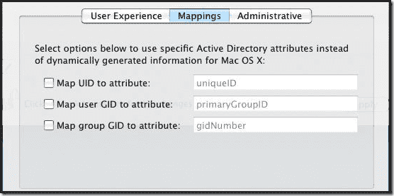Mac OS X Active.Directory Join - Mappings