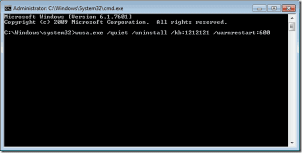 Uninstall with wsua command
