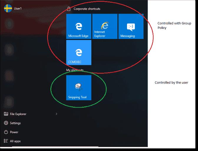 windows 10 start menu layout