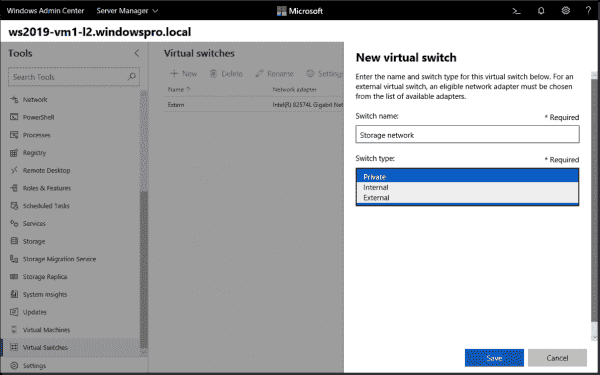 Windows Admin Center: Installing the Hyper-V role and