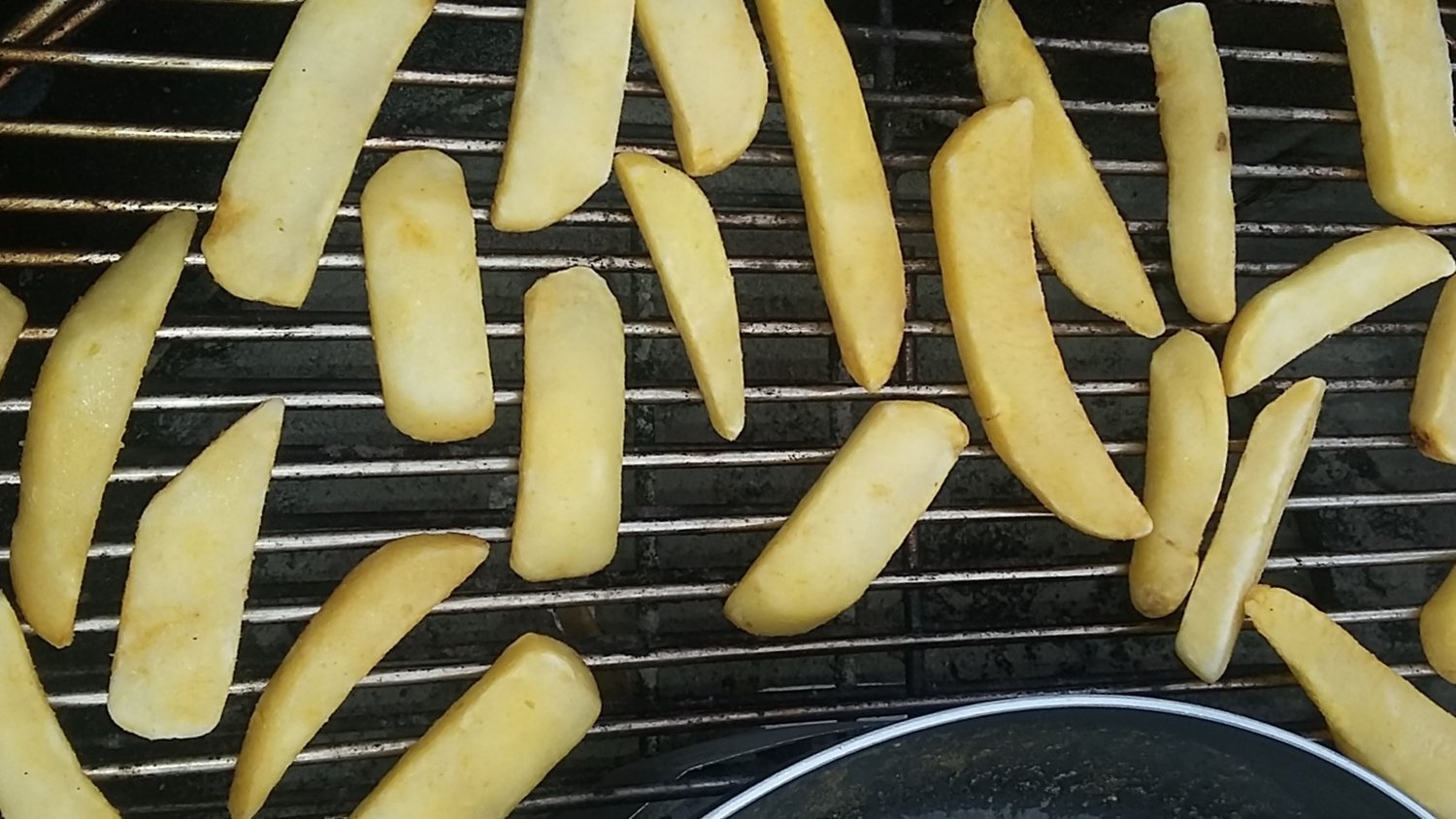 de-frosting frozen french fries on the grill
