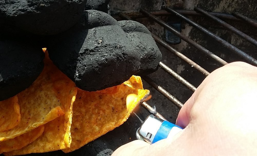 lighting doritos in charcoal