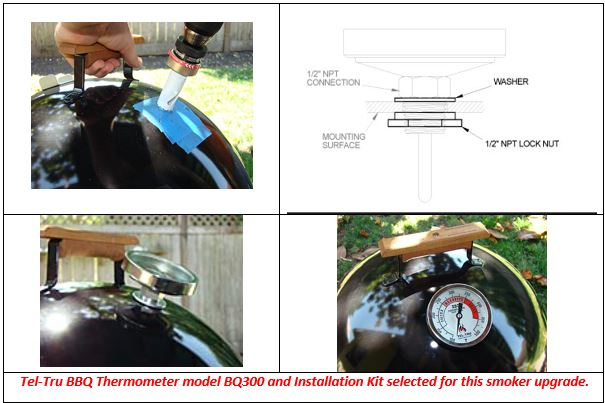 installation instructions for tel-tru UT300 barbecue thermometer
