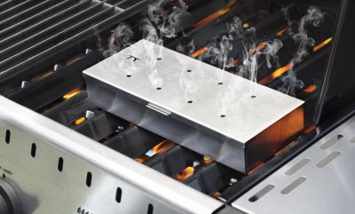 Stainless steel wood chip smoker box on grill
