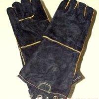 black leather grilling gloves
