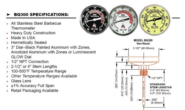 tel-tru barbecue thermometer specification sheet