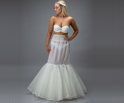 bride in a white petticoat