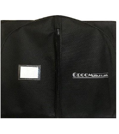 small black suit bag folded in half