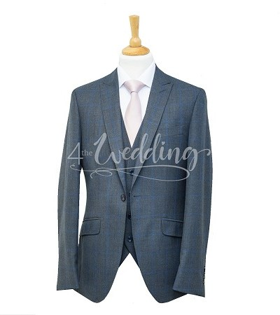 Grey and blue check full suit with a light pink tie on a manikin wearing a white shirt