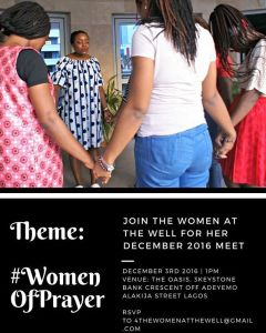 "Hey sisters, its @frances_okoro here So I have awesome news for our sisters who have been asking about ""The Women At The Well"" next meet. It's here! And an amazing twist is that we will be having two meets! One at Lagos and One In Ekiti State, Ado-Ekiti to be precise. The meet in Ado-Ekiti will hold on Saturday November 19th. Theme: On Purpose: #SeasonsOfPreparation. Another twist is that we are only taking 12 Ladies and there is no bias in choosing these ladies, its going to be on first come basis. I really didn't think we were going to have this Ekiti Meet but oh, the tug has been so deep, I am praying all God has for us shall come to manifestation. I know we will have an amazing time together. Now our Lagos meet will hold on Saturday December 3rd 2016. Venue: The Oasis, 3 Keystone Bank Crescent Off Adeyemo Alakija Street Lagos. And I am soooo revved up. Theme: #WomenOfPrayer. I have been feeling such a pull for women to get into prayer, TWTW Team has been praying for an outpouring of the Spirit in ways we cannot physically understand. If you have been feeling low in your spiritual life lately, by all means please join us. It would be such a refreshing time in the Spirit and there is no number limit to this, come one, come all. I want to meet you all sisters. We still birthing women filled with Jesus in ""The Women At The Well"". I hope that you will be one of us. Please, if you want to join up on either of the two meets, mail 4thewomenatthewell@gmail.com We need numbers so we can plan better. So do us that email, and especially my Ado-Ekiti Ladies , please mail ASAP. #thewomenatthewell Feel free to tag a sister in need of some Christian ladies fellowship :-) #ladiesgroup #christianladiesgroupinlagos #adoekitiladiesmeet"