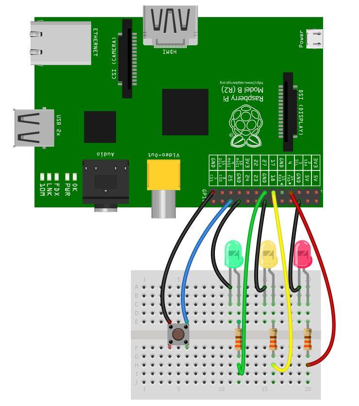 simple traffic light diagram 96 jeep grand cherokee fuel pump wiring raspberry pi lights 4tronix fritzing tl04