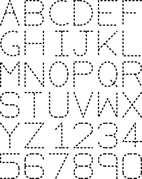 Alphabet Numbers Tracing clip art (104531) Free SVG