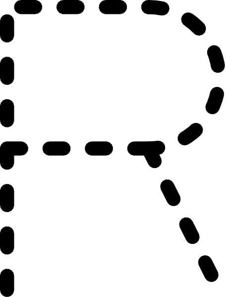 Alphabet Tracing Letter R clip art (104513) Free SVG