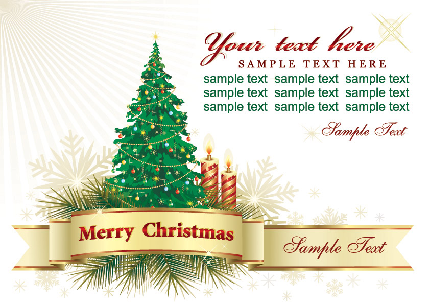 Beautiful Christmas Greeting Card Background Vector Free