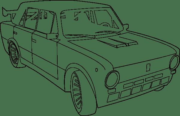 Car Lada Outline clip art (108546) Free SVG Download / 4