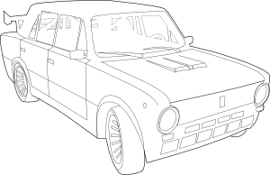 Car Lada Outline clip art Free Vector / 4Vector