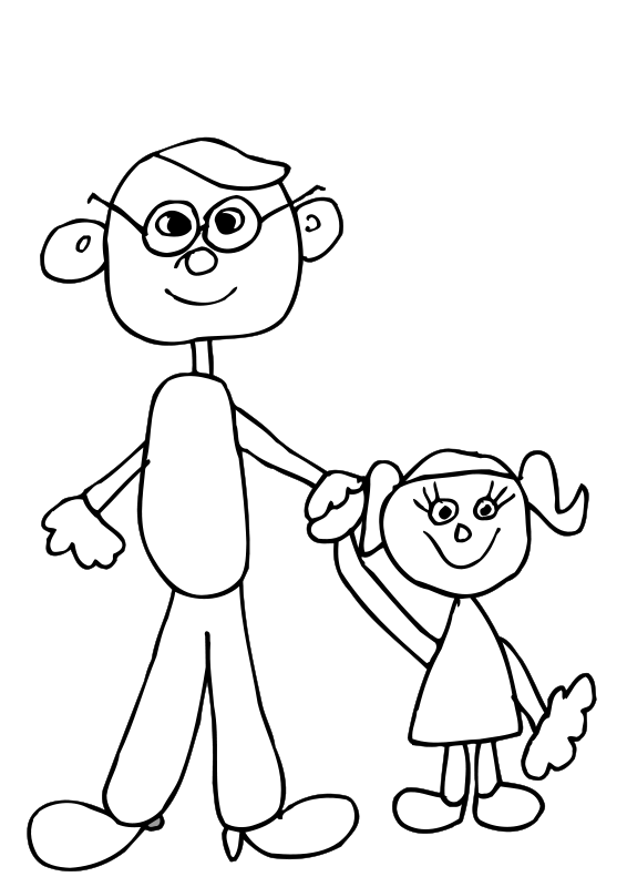 Dad holding daughters hand (99556) Free SVG Download / 4