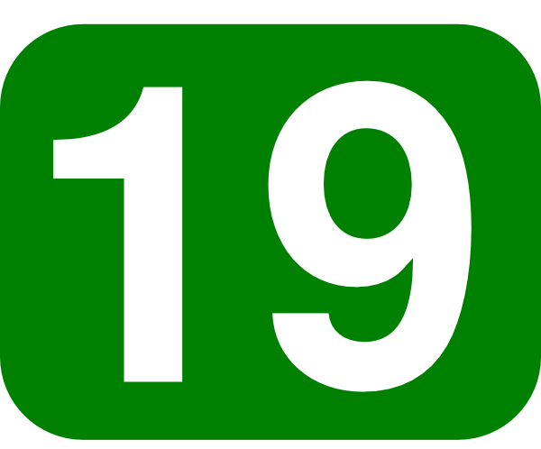 Green Rounded Rectangle With Number 19 Clip Art Free