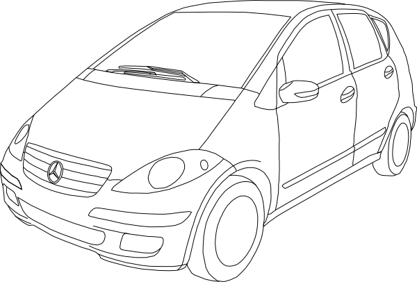 Mercedes Benz Class A Outline clip art Free Vector / 4Vector
