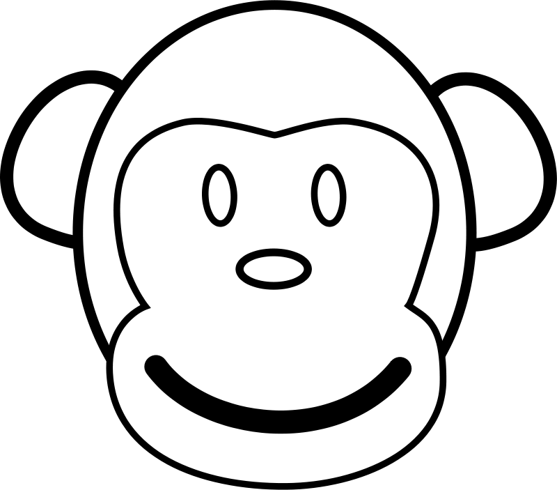 Monkey Line Art Free Vector / 4Vector