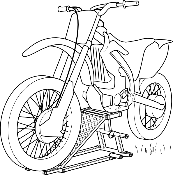 Outline Motorcycle Lift clip art Free Vector / 4Vector