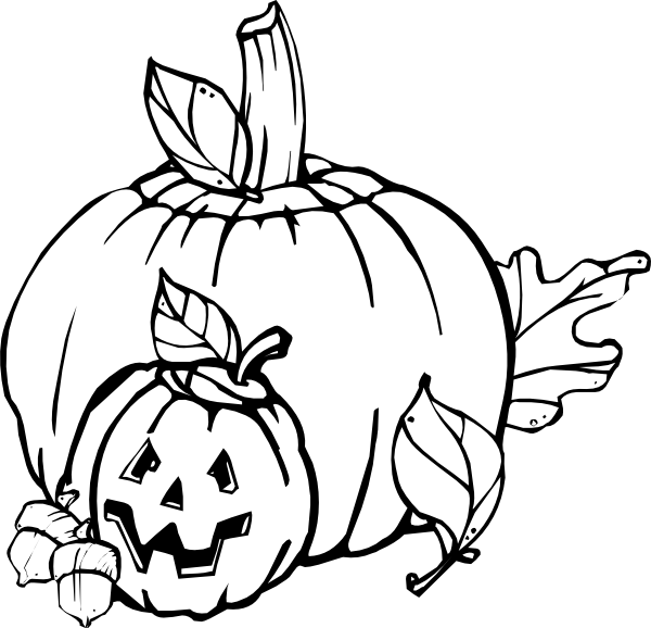 Pumpkins Black And White clip art (108642) Free SVG