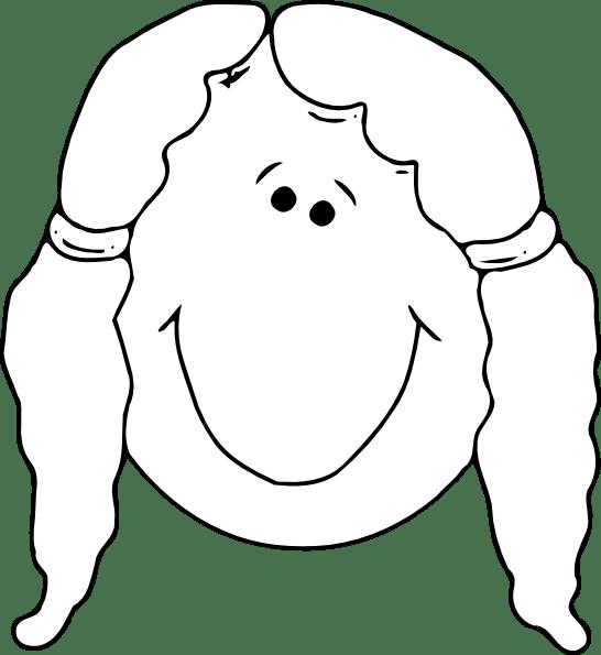 Smiling Girl Face Outline clip art (108654) Free SVG