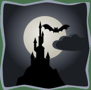spooky castle in full moon clip