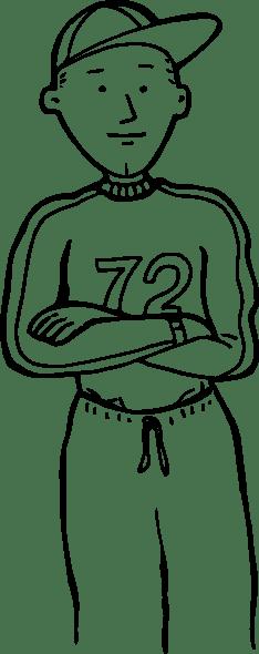 Sporty Boy Outline clip art Free Vector / 4Vector