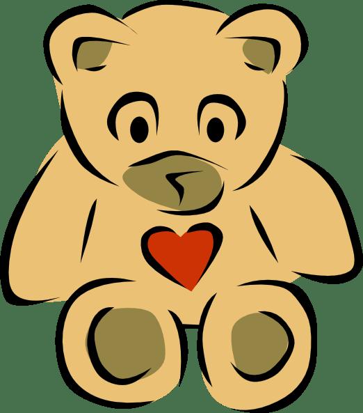 Teddy Bears With Hearts Clip Art Free Vector 4Vector