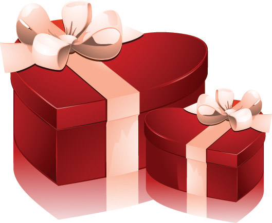 Valentine Day Heartshaped Gift Box Vector Free Vector
