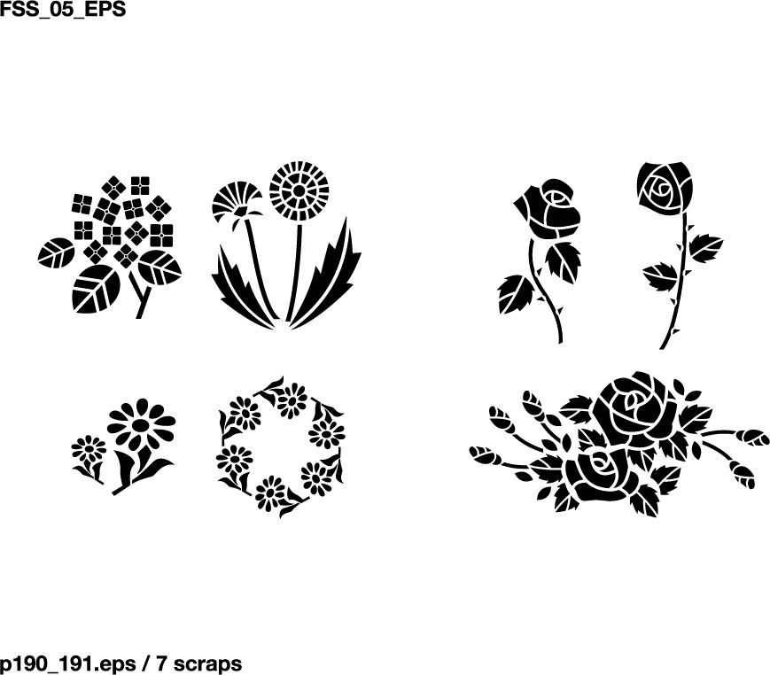 Various elements of vector silhouette flowers and trees 69
