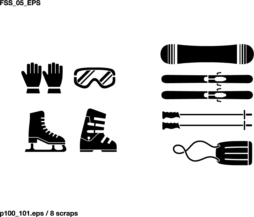 Various elements of silhouette sports equipment equipment