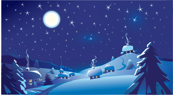 Snow Falling Wallpaper For Ipad Vector Christmas Night Free Vector 4vector