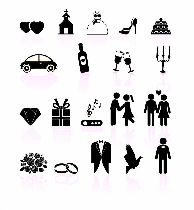 Wedding day black and white set icons (132940) Free AI