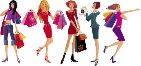 shopping vector illustration pretty dress perfect go boutiques eps