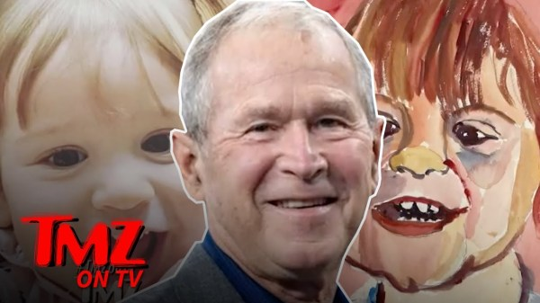George Bush Tries Painting 1 Year Old Grandson | TMZ TV